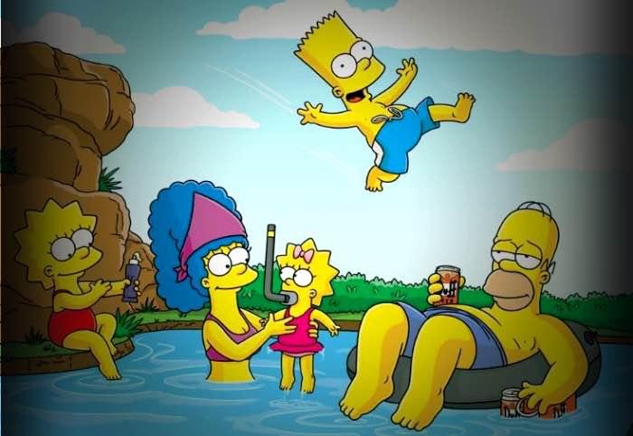 famiglia Simpson fa il bagno in una pozza