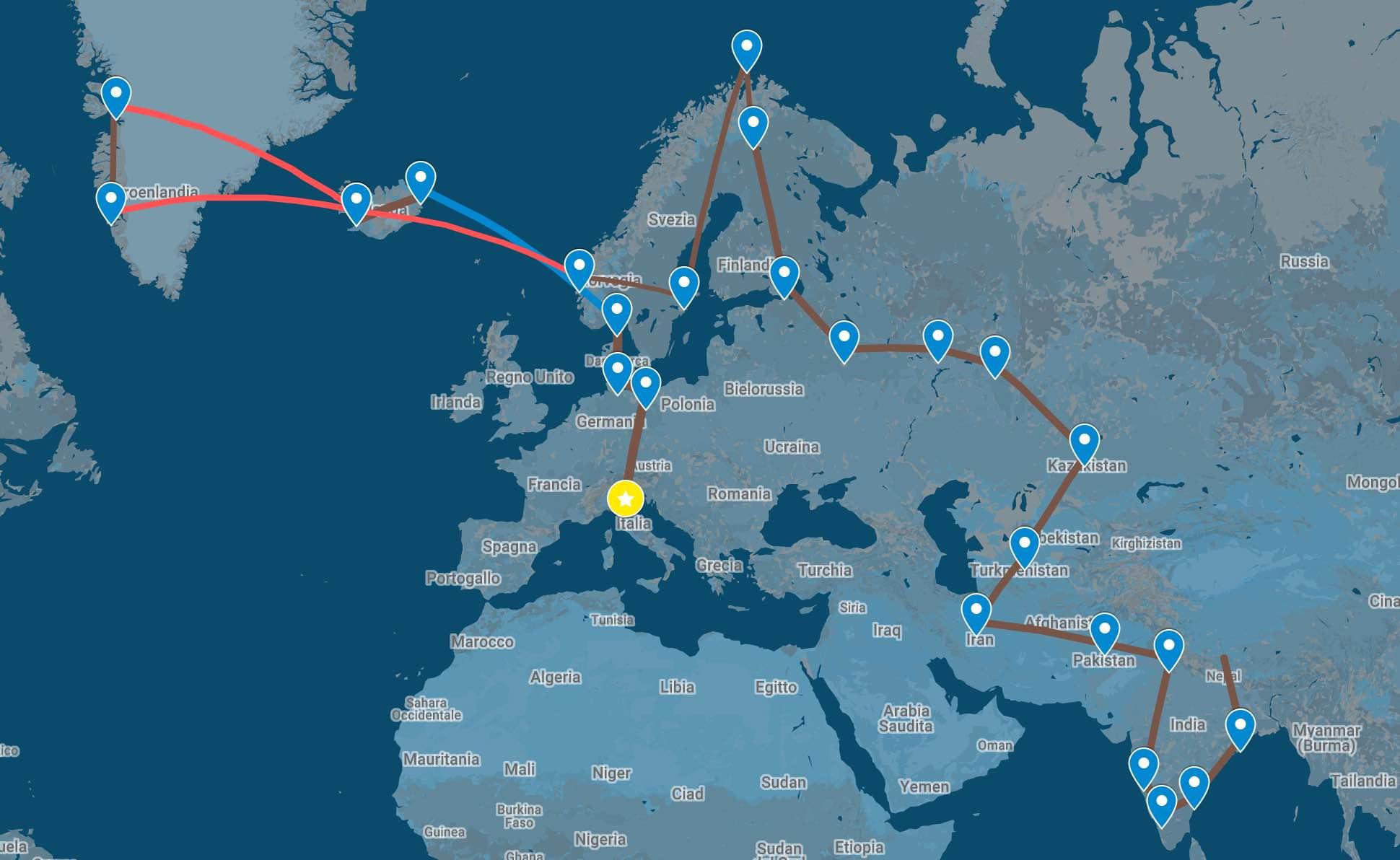 Mappa del percorso dei primi 6 mesi di viaggio