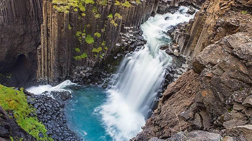 cascata, basalto, Islanda