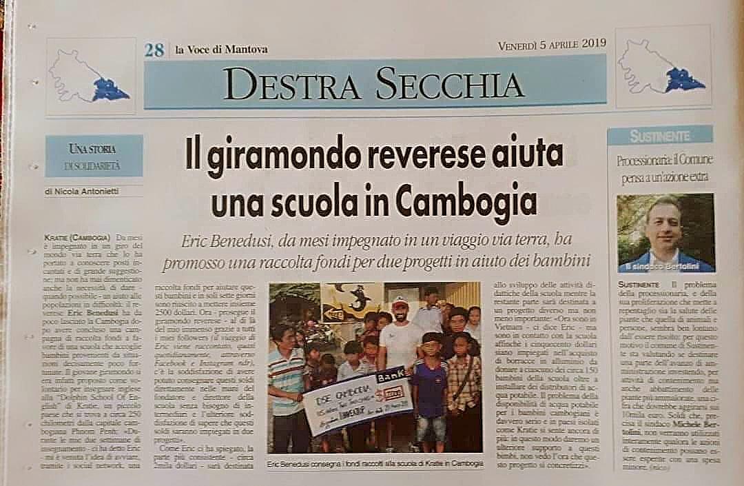 Il giramondo reverese aiuta una scuola in Cambogia