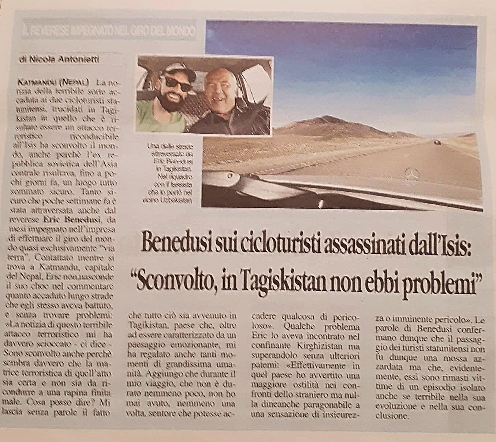"""Benedusi sui cicloturisti assassinati dall'Isis """"Sconvolto in Tajikistan non ebbi problemi!"""""""