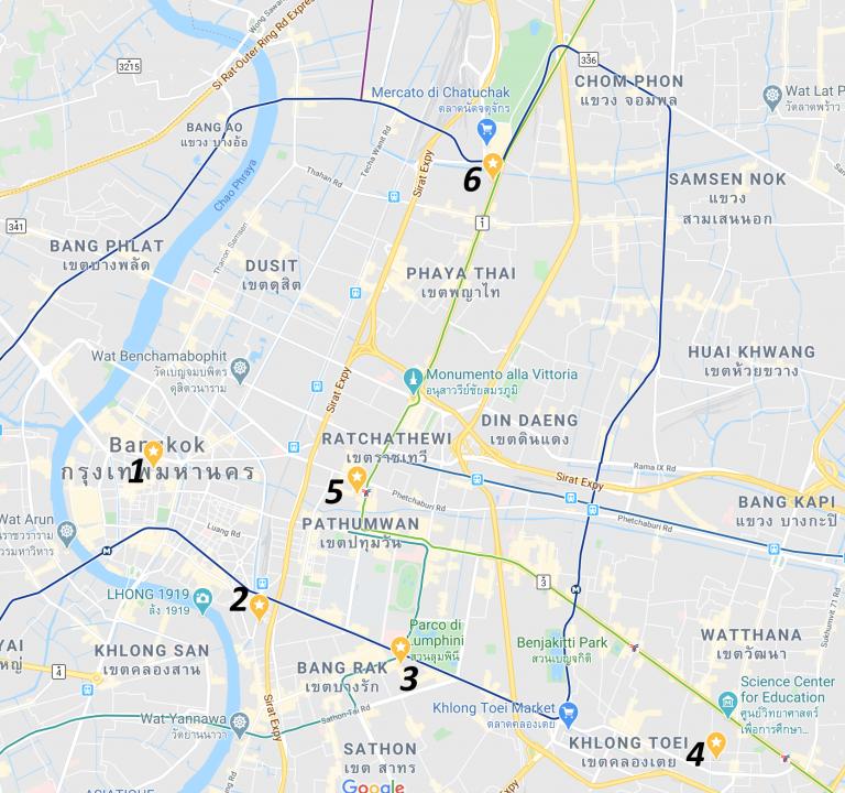 mappa ostelli bangkok