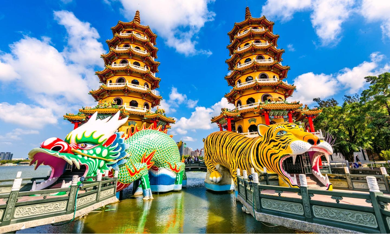 pagoda: drago; tigre; kaoshiung; taiwan